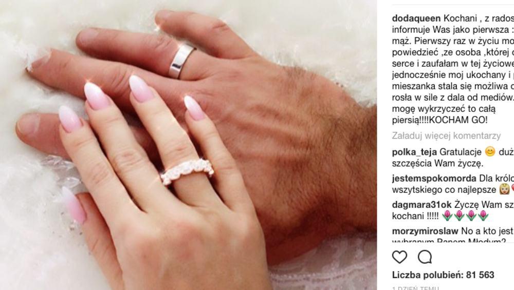 Doda wzięła ślub! 'Wyobrażam sobie teraz Wasze miny i szok…'