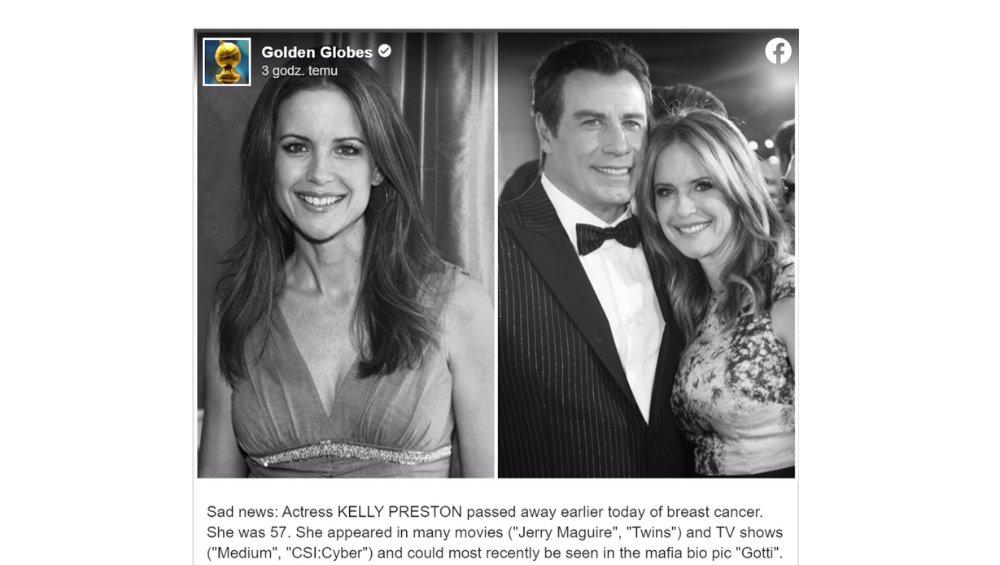 John Travolta wdowcem. Zmarła żona znanego aktora