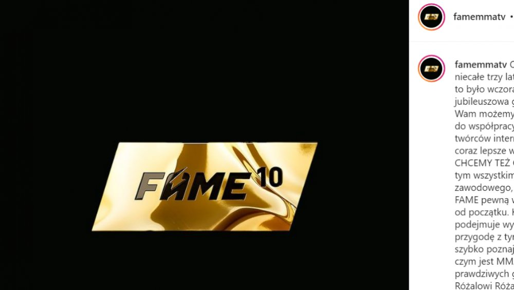 Fame MMA 10: karta walk ze zmianami. Zawodnika zastąpi uczestnik randkowego show